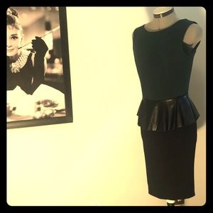 Peplum dress with faux-leather detail